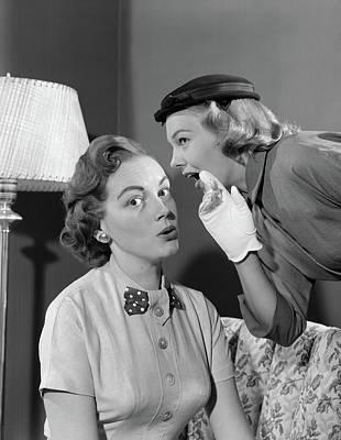 1950s Woman In Hat & White Gloves Art Print