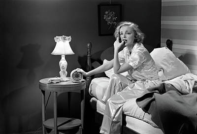 Woman Resting And Contemplating Photograph - 1950s Woman Silk Pajamas Sitting Edge by Vintage Images