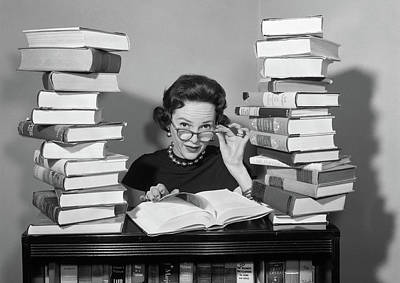 1950s Woman Sitting Between Stacks Art Print