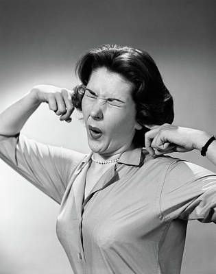Loud Photograph - 1950s Woman Sticking Fingers In Ears by Vintage Images