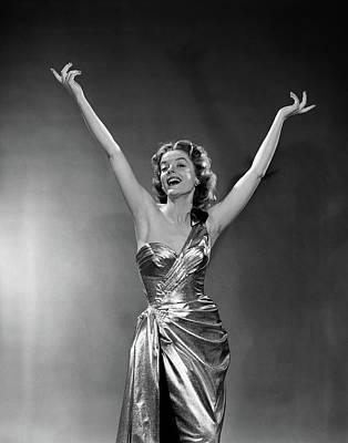 1950s Woman Wearing Elegant Gold Lame Art Print