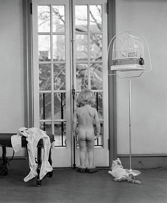 Black And White Studio Nude Photograph - 1950s Young Girl Nude Back To Camera by Vintage Images