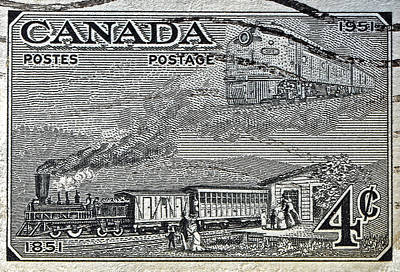Photograph - 1951 Canada Train Stamp by Bill Owen