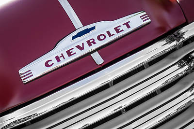 Photograph - 1951 Chevy Truck Emblem And Grill by Ron Pate