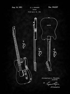 Digital Art - 1951 Fender Electric Guitar Patent Art-bk by Barry Jones