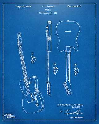 Drawing - 1951 Fender Electric Guitar Patent Artwork - Blueprint by Nikki Marie Smith