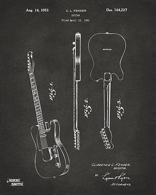 Digital Art - 1951 Fender Electric Guitar Patent Artwork - Gray by Nikki Marie Smith