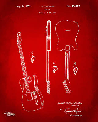 Drawing - 1951 Fender Electric Guitar Patent Artwork - Red by Nikki Marie Smith