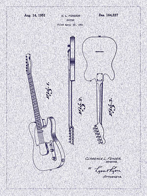 Photograph - 1951 Fender Electric Guitar Patent by Barry Jones