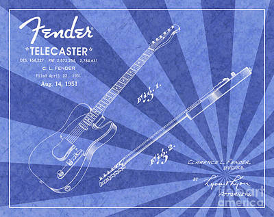 Jazz Digital Art - 1951 Fender Telecaster Guitar Patent Art Blue Ray Pattern 1 by Nishanth Gopinathan