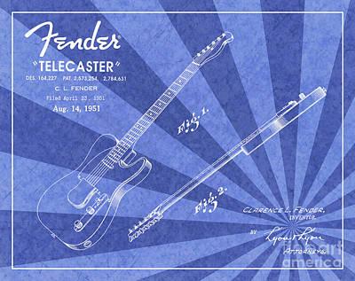1951 Fender Telecaster Guitar Patent Art Blue Ray Pattern 1 Art Print by Nishanth Gopinathan