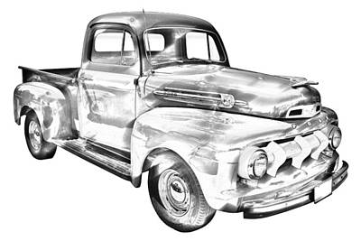1951 Ford F-1 Pickup Truck Illustration  Art Print by Keith Webber Jr