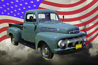 1951 Ford F-1 Pickup Truck With United States Flag Art Print by Keith Webber Jr