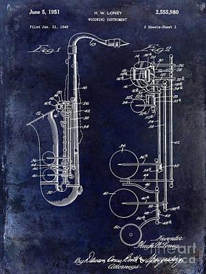 Saxophone Photograph - 1951 Saxophone Patent Drawing Blue by Jon Neidert