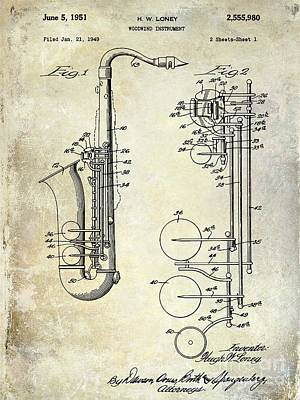 Saxophone Photograph - 1951 Saxophone Patent Drawing by Jon Neidert