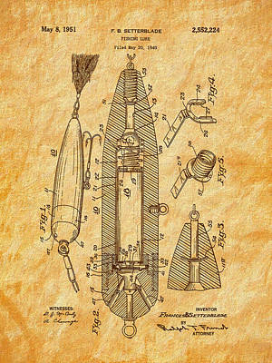Drawing - 1951 Setterblade Fishing Lure Patent by Barry Jones