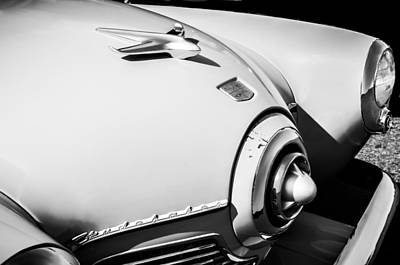 Photograph - 1951 Studebaker Star Light Hood Ornament -0344bw by Jill Reger