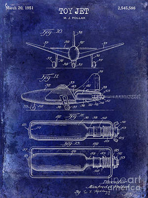 1951 Toy Jet Patent Drawing Blue Art Print by Jon Neidert