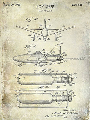 1951 Toy Jet Patent Drawing Art Print by Jon Neidert