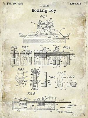 Boxers Photograph - 1952 Boxing Toy Patent Drawing by Jon Neidert