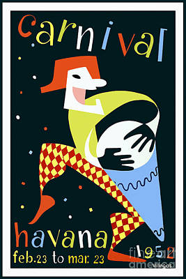 Carnaval Drawing - 1952 Carnaval Vintage Travel Poster by Jon Neidert