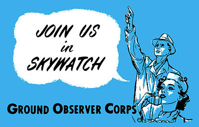 Painting - 1952 Cold War Skywatch Poster by Historic Image