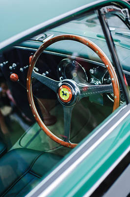 Photograph - 1952 Ferrari 212 Inter Vignale Coupe Steering Wheel Emblem by Jill Reger