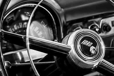 Wagon Photograph - 1952 Ford Wagon Steering Wheel Emblem -0187bw by Jill Reger