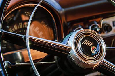 Wagon Photograph - 1952 Ford Wagon Steering Wheel Emblem -0187c by Jill Reger
