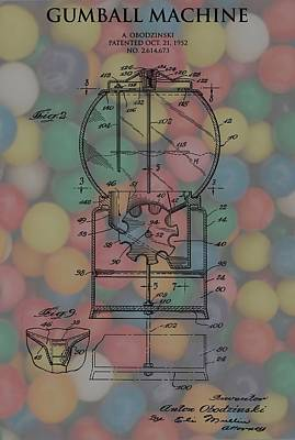 Toy Store Mixed Media - 1952 Gumball Machine Patent Poster by Dan Sproul