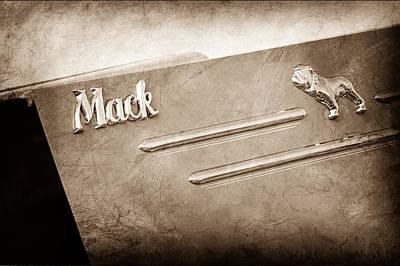 Antique Fire Trucks Photograph - 1952 L Model Mack Pumper Fire Truck Emblem by Jill Reger