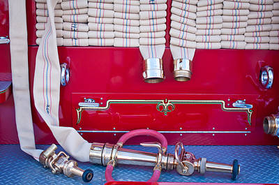 Fire Trucks Photograph - 1952 L Model Mack Pumper Fire Truck Hoses by Jill Reger