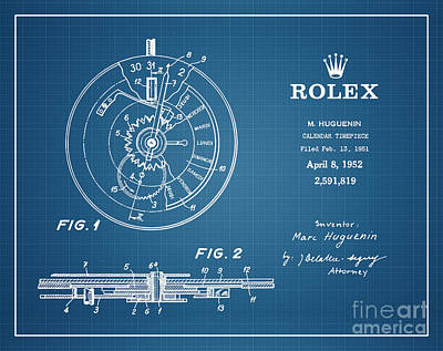 Graphing Drawing - 1952 Rolex Calendar Timepiece 4 by Nishanth Gopinathan