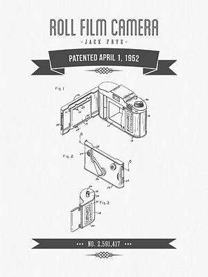1952 Roll Film Camera Patent Drawing - Retro Gray Art Print