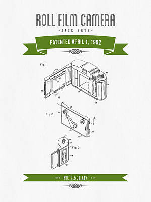 1952 Roll Film Camera Patent Drawing - Retro Green Art Print