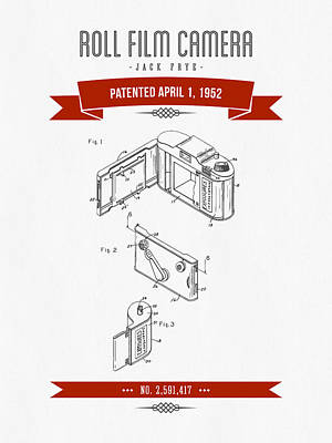 1952 Roll Film Camera Patent Drawing - Retro Red Art Print