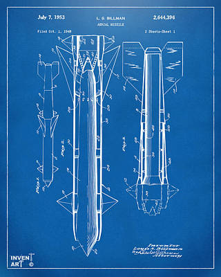 1953 Aerial Missile Patent Blueprint Art Print by Nikki Marie Smith