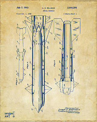 1953 Aerial Missile Patent Vintage Art Print by Nikki Marie Smith