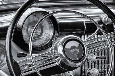1953 Buick Super Dashboard And Steering Wheel Bw Art Print by Jerry Fornarotto