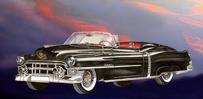 Black Background Mixed Media - 1953  Cadillac El Dorardo Convertible by Jack Pumphrey
