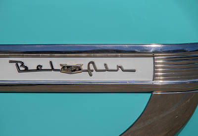 Photograph - 1953 Chevy Bel Air Fender Name Badge by Roger Mullenhour