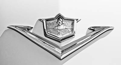 Photograph - 1953 Desoto Fire Dome Sportsman Emblem -3337bw by Jill Reger