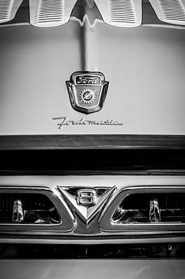 1953 Ford F-100 Fordomatic Pickup Truck Grille Emblems -0108bw Art Print by Jill Reger