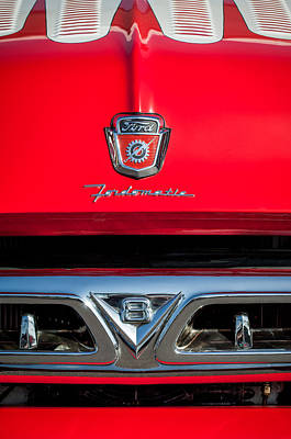 1953 Ford F-100 Fordomatic Pickup Truck Grille Emblems -0108c Art Print by Jill Reger
