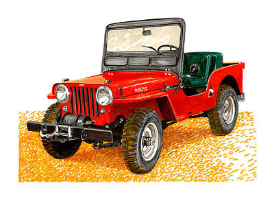 Jeep Drawing - 1953 Jeep C J Three A by Jack Pumphrey