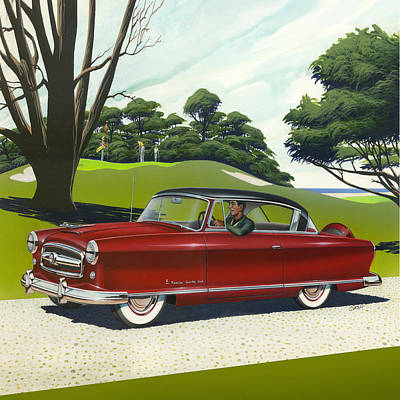 Club Scene Painting - 1953 Nash Rambler - Square Format Image Picture by Walt Curlee