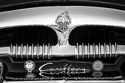 Photograph - 1953 Packard Caribbean Grille Emblem -1217bw by Jill Reger