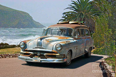 Travel Rights Managed Images - 1953 Pontiac Chieftain Surfn USA Wagon Royalty-Free Image by Dave Koontz