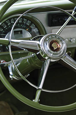 Historic Vehicle Photograph - 1953 Pontiac Steering Wheel by Jill Reger