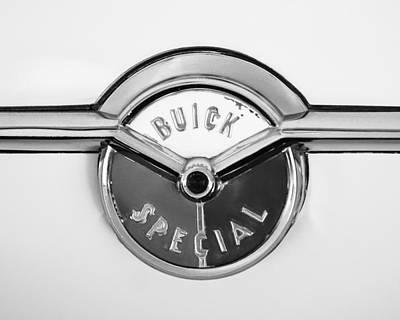 Wagon Photograph - 1954 Buick Special Wagon Emblem -1321bw by Jill Reger
